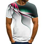 abordables -Homme T-shirt Graphique 3D Grandes Tailles Manches Courtes Sortie Hauts basique Bleu Violet Jaune