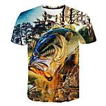 economico -Per uomo maglietta Fantasia geometrica 3D Taglie forti Con stampe Manica corta Quotidiano Top Essenziale Moda città Blu