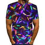 abordables -Homme T-shirt 3D Grandes Tailles Imprimé Manches Courtes Quotidien Hauts basique Arc-en-ciel