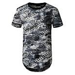 abordables -Homme T-shirt Géométrique Imprimé Manches Courtes Quotidien Hauts basique Bleu Gris Foncé