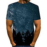 abordables -Homme T-shirt 3D Manches Courtes Quotidien Hauts basique Exagéré Bleu Violet Jaune