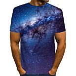 abordables -Homme T-shirt Graphique 3D Manches Courtes Quotidien Hauts basique Bleu Violet Rouge