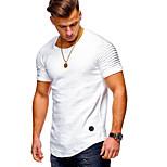 abordables -Homme T-shirt Couleur Pleine Asymétrique Manches Courtes Quotidien Hauts basique Militaire Blanche Noir Vert Véronèse