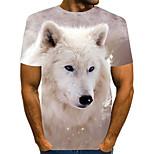 abordables -Homme T-shirt 3D Animal Grandes Tailles Plissé Imprimé Manches Courtes Quotidien Hauts Chic de Rue Exagéré Arc-en-ciel