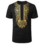 abordables -Homme T-shirt Tribal Manches Courtes Quotidien Hauts basique Rétro Vintage Blanche Noir Vin