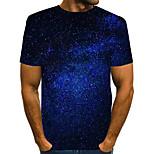 abordables -Homme T-shirt Graphique 3D Print Manches Courtes Quotidien Hauts basique Bleu Violet Rouge