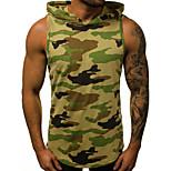 abordables -Homme Débardeur camouflage Lettre Imprimé Sans Manches Des sports Hauts basique Militaire Vert Véronèse Gris