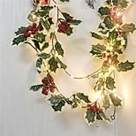 abordables -2m 20leds Red Berry Décoration De Noël Guirlande Guirlande À La Main LED Feuille De Lierre Lumières De Cuivre Pour Noël Cadeau Arbre De Vacances Décoration De La Maison Éclairage (Sans Batterie)