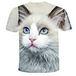 economico -Per uomo maglietta Pop art Colorato a macchie Animali Con stampe Manica corta Quotidiano Top Moda città Esagerato Bianco
