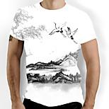abordables -Homme T-shirt Graphique Imprimé Manches Courtes Quotidien Hauts basique Chinoiserie Blanche