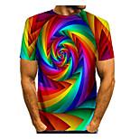 abordables -Homme T-shirt Chemise Graphique Imprimé Manches Courtes Quotidien Hauts basique Col Rond Arc-en-ciel