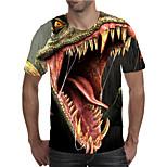 abordables -Homme T-shirt Chemise 3D effet Graphique Animal Grandes Tailles Imprimé Manches Courtes Quotidien Hauts Elégant Exagéré Col Rond Rouge