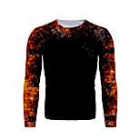 economico -Per uomo maglietta Pop art Con stampe Quotidiano Manica lunga Top Essenziale Nero