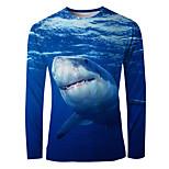 economico -Per uomo maglietta Stampa 3D Pop art Animali Manica lunga Quotidiano Top Essenziale Elegante Blu