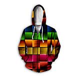 economico -Per uomo Felpa con cappuccio e zip Pop art Monocolore Quotidiano Fine settimana Stampa 3D Essenziale Casuale Felpe con cappuccio Felpe Arcobaleno