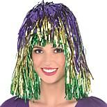 abordables -Perruques de Déguisement Mardi Gras Tinsel Droit crépu Coupe Asymétrique Perruque Longueur moyenne Arc-en-ciel Cheveux Synthétiques Femme Animé Cosplay Exquis Couleur mixte