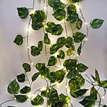 abordables -guirlandes de vigne feuille verte décoration de mariage en plein air 2,3 m 30 leds guirlandes led guirlandes lumineuses fête de famille mariage saint valentin patio jardin décoration lumières