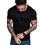 abordables -Homme T-shirt Couleur Pleine Manches Courtes Quotidien Hauts Noir Vert Véronèse