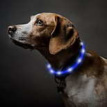 economico -collare per cani a led ricaricabile usb bagliore nel buio collare per animali domestici, collari in silicone illuminati per passeggiate notturne (blu)