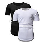 abordables -Homme Unisexe T-shirt non imprimable Couleur Pleine Grandes Tailles 2 pièces Manches Courtes Quotidien Hauts Noir / Blanc