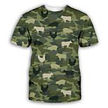 economico -Per uomo maglietta Stampa 3D Pop art Con stampe Manica corta Feste Top Esagerato Verde militare