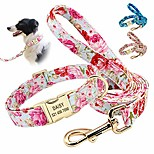 economico -collari per cani con motivo floreale morbido con targhetta, collare per cani personalizzato con stampa floreale bellissima e guinzaglio da 5 piedi per cani di taglia piccola media