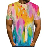 abordables -Homme T-shirt Impression 3D à imprimé arc-en-ciel Graphique 3D Imprimé Manches Courtes Quotidien Hauts Chic de Rue Arc-en-ciel
