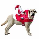 abordables -drôle de chien de compagnie chat costume de noël santa chiens hiver manteau à capuche vêtements pour noël fête d'halloween, le cheval d'équitation père noël animal de compagnie chat chien vêtements