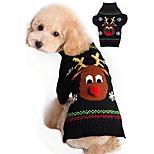 economico -maglione per cani per natale cartone animato renna animale domestico gatto maglieria invernale vestiti caldi