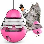 abordables -jouets amusants interactifs pour chat, boule d'alimentation 3 en 1 avec gobelet à rotation automatique, baguette en plumes de chat et distributeur de nourriture pour chaton chat entraînement drôle de