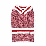 abordables -chandails pour chiens petites étoiles petits chiens col en v couleur mélangée tricots pour chiens de compagnie en laine chiot manteau d'hiver vêtements de chat chandails de chaton, rouge, xs