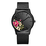 economico -orologio da polso da donna con stampa floreale in vera pelle (nero-a)