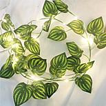 abordables -1x 2m soie artificielle vert feuille de lierre vigne LED guirlande lumineuse pour mariage à la maison fête de Noël guirlande suspendue chaîne flexible AA éclairage de puissance de la batterie (livré