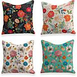 economico -4 pezzi di lino morbido decorativo quadrato copriletto federa federa per divano camera da letto 45 x 45 cm (18 x 18 pollici) fiori colorati lavabili in lavatrice di qualità superiore