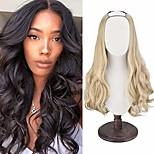 """abordables -Demi-perruque de 24 """"u partie, longue perruque de cheveux ondulés ondulés en forme de U 7 clips pour les femmes creamyblonde"""