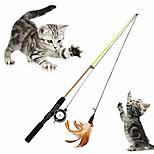 abordables -plume cloche canne à pêche rétractable pôle jouant teaser jouet chats chaton jouets fournitures pour animaux de compagnie style plume