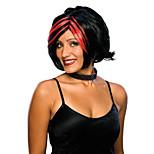 abordables -perruque costume idol rocker babe, noir / rouge, taille unique