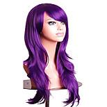 abordables -Perruque longue droite de 27,5 po avec perruque de fête costumée frange (violet)