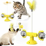 abordables -Jouet pour chat moulin à vent pour chats d'intérieur interactif, plateau tournant 3-en-1 taquinant des balles d'herbe à chat avec baguette, grattoir à ventouse (jaune)