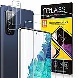 abordables -3-pcs 9h protecteur d'écran de dureté + 2-pcs protecteur d'objectif de caméra pour Samsung Galaxy S21ultra S20fe protecteur d'écran en verre trempé pour Galaxy S21 + S20 plus S10 Lite S9 / S8 HD protecteur d'écran ultra-mince