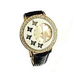 economico -moda donna cristallo farfalla decorazione orologio al quarzo in pelle pu orologi da donna (bianco)