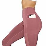 economico -pantaloni da yoga a vita alta con tasca, leggings da corsa morbidi per il fitness sportivo (rosso, xl)