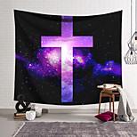 abordables -Tapisserie murale art décor couverture rideau suspendu maison chambre salon décoration polyester croix badge violet ciel étoilé