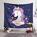 abordables -Tapisserie murale art décor couverture rideau suspendu maison chambre salon décoration polyester couleur licorne mignon yeux fermés