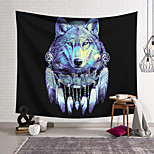 abordables -Tapisserie murale art décor couverture rideau suspendu maison chambre salon décoration polyester bleu tête de loup