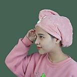 abordables -serviette pour cheveux wrap sèche cheveux chapeau de bain bonnet pour cheveux serviette de séchage avec bouton 85% fibre de polyester (polyester) et 15% fibre de polyamide
