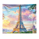 abordables -Tapisserie murale art décor couverture rideau suspendu maison chambre salon décoration polyester tour eiffel paris pigeon volant