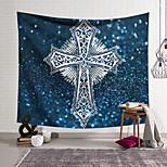 abordables -Tapisserie murale art décor couverture rideau suspendu maison chambre salon décoration polyester croix badge fond bleu mousseux