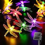 economico -LED solare luci stringa fata 6.5 m libellula 30 led bianco caldo colorato bianco 8 modalità esterna impermeabile matrimonio patio giardino decorazione della casa lampada