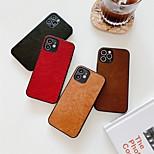 abordables -téléphone Coque Pour Apple Coque Arriere iPhone 12 Pro Max 11 SE 2020 X XR XS Max 8 7 Antichoc Etanche à la Poussière Couleur Pleine faux cuir TPU